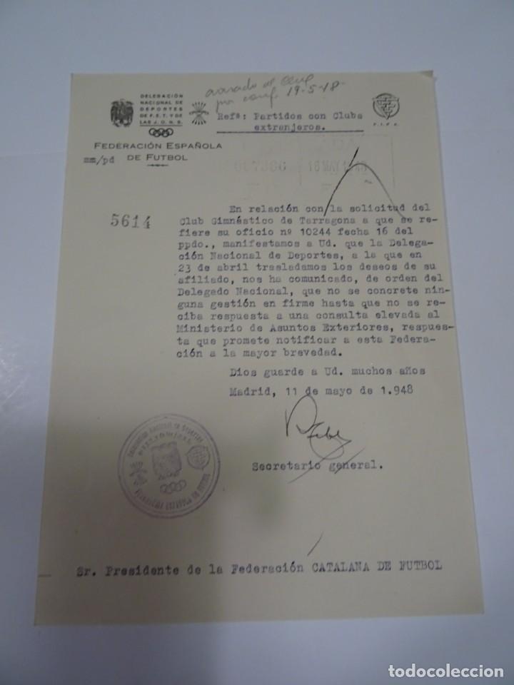 FÚTBOL CARTA ORIGINAL - GIMNASTICO DE TARRAGONA - SOLICITUD PARTIDOS CON EXTRANJEROS 1948 (Coleccionismo Deportivo - Documentos de Deportes - Otros)
