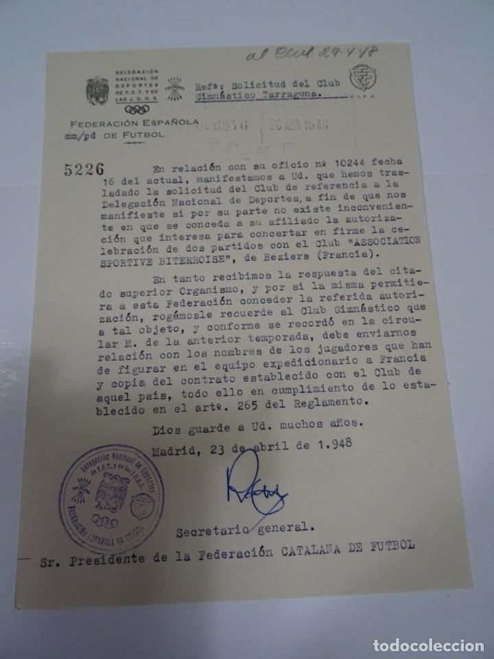 FÚTBOL CARTA ORIGINAL - SOLICITUD PARTIDO INTERNACIONAL GIMNASTICO DE TARRAGONA - BEZIERS 1948 (Coleccionismo Deportivo - Documentos de Deportes - Otros)