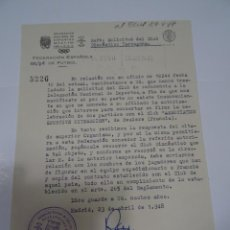 Collectionnisme sportif: FÚTBOL CARTA ORIGINAL - SOLICITUD PARTIDO INTERNACIONAL GIMNASTICO DE TARRAGONA - BEZIERS 1948. Lote 269805188
