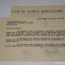Coleccionismo deportivo: FÚTBOL CARTA ORIGINAL - FC BARCELONA CARTA FELICITACIÓN CONQUISTAR 1 COPA LATINA 1949. Lote 270881683