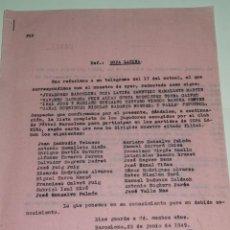 Coleccionismo deportivo: CARTA FC BARCELONA - COPA LATINA LISTA DE JUGADORES RAMALLETS, MARTIN, BASORA, SEGUER. Lote 271088863