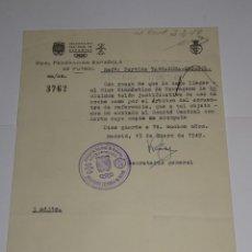 Coleccionismo deportivo: CARTA PARTIDO GIMNASTICO DE TARRAGONA - RCD ESPAÑOL 1949 - COCHE CAMA PARA EL ARBITRO DEL ENCUENTRO. Lote 271123828