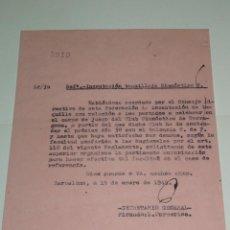 Coleccionismo deportivo: CARTA INCAUTACIÓN TAQUILLAJE GIMNASTICO DE TARRAGONA CONTRA EL VALENCIA FC 1949. Lote 271124548