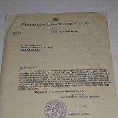Coleccionismo deportivo: CARTA PERMISO PARA LOS PARTIDOS FC BARCELONA, TOULOUSE Y RACING STRASBOURG 1949. Lote 271125263