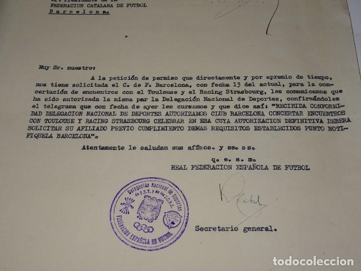 Coleccionismo deportivo: CARTA PERMISO PARA LOS PARTIDOS FC BARCELONA, TOULOUSE Y RACING STRASBOURG 1949 - Foto 2 - 271125263