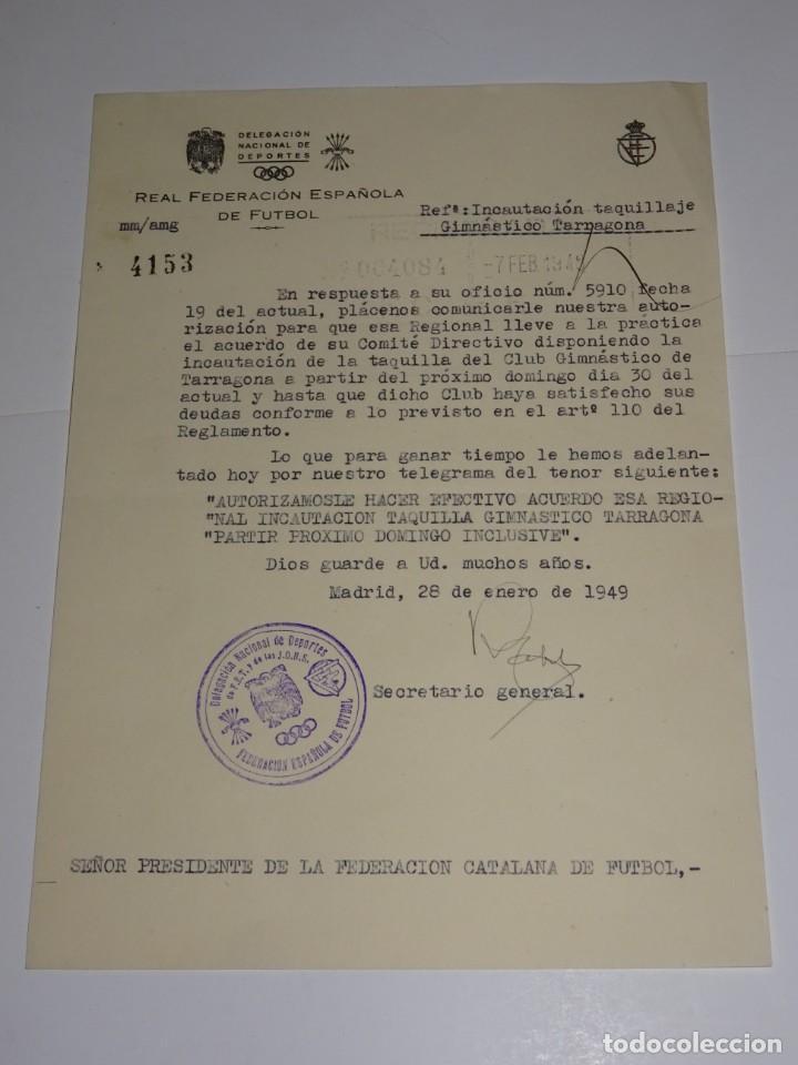 CARTA INCAUTACIÓN TAQUILLAJE GIMNASTICO DE TARRAGONA PARA EL PROXIMO DOMINGO 1949 (Coleccionismo Deportivo - Documentos de Deportes - Otros)