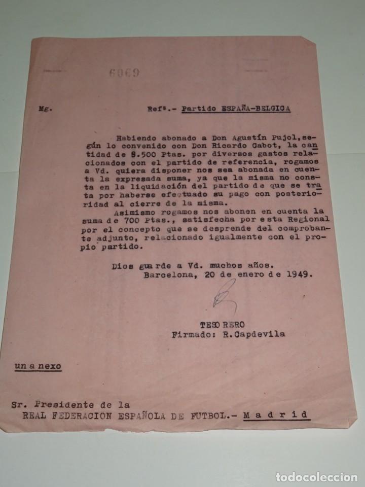 CARTA PARTIDO ESPAÑA - BELGICA, ABONADO 8.500 PTAS AL JUGADOR AGUSTIN PUJOL Y RICARDO CABOT (Coleccionismo Deportivo - Documentos de Deportes - Otros)