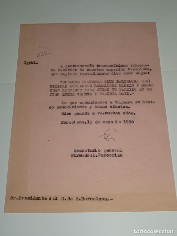CARTA NOTIFICACION AL FC BARCELONA PARA QUE LOS JUGADORES RAMALLETS Y CESAR MARTIN CON ESPAÑA (Coleccionismo Deportivo - Documentos de Deportes - Otros)