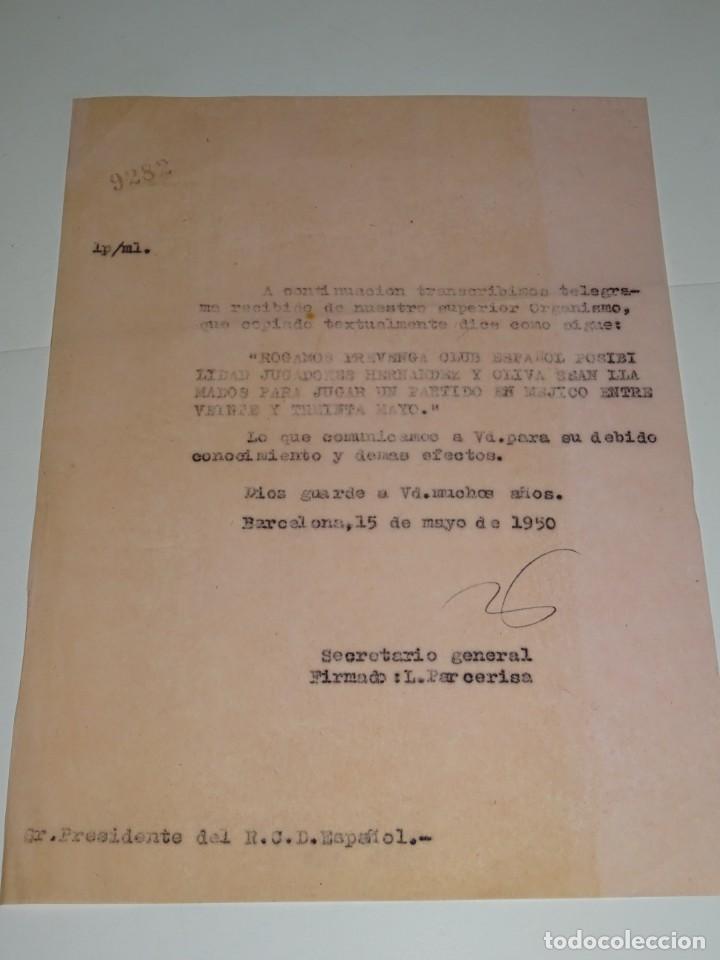 CARTA RCD ESPAÑOL NOTIFICANDO QUE LOS JUGADORES HERNANDEZ Y OLIVA CONVOCADOS PARA ESPAÑA 1950 (Coleccionismo Deportivo - Documentos de Deportes - Otros)