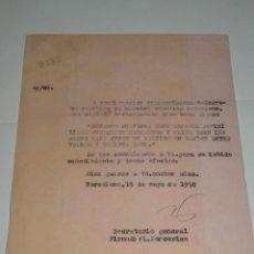 Coleccionismo deportivo: CARTA RCD ESPAÑOL NOTIFICANDO QUE LOS JUGADORES HERNANDEZ Y OLIVA CONVOCADOS PARA ESPAÑA 1950. Lote 271132573