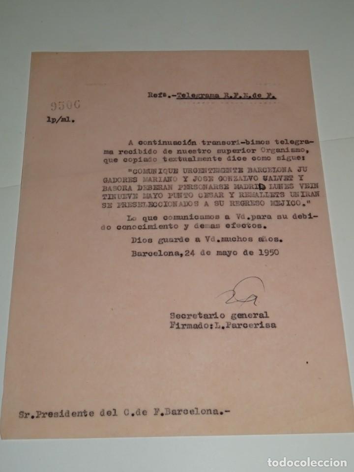 CARTA NOTIFICACION AL FC BARCELONA, CONVOCATORIA ESPAÑA MARIANO, J GONZAOLVO, CESAR Y RAMALLETS (Coleccionismo Deportivo - Documentos de Deportes - Otros)