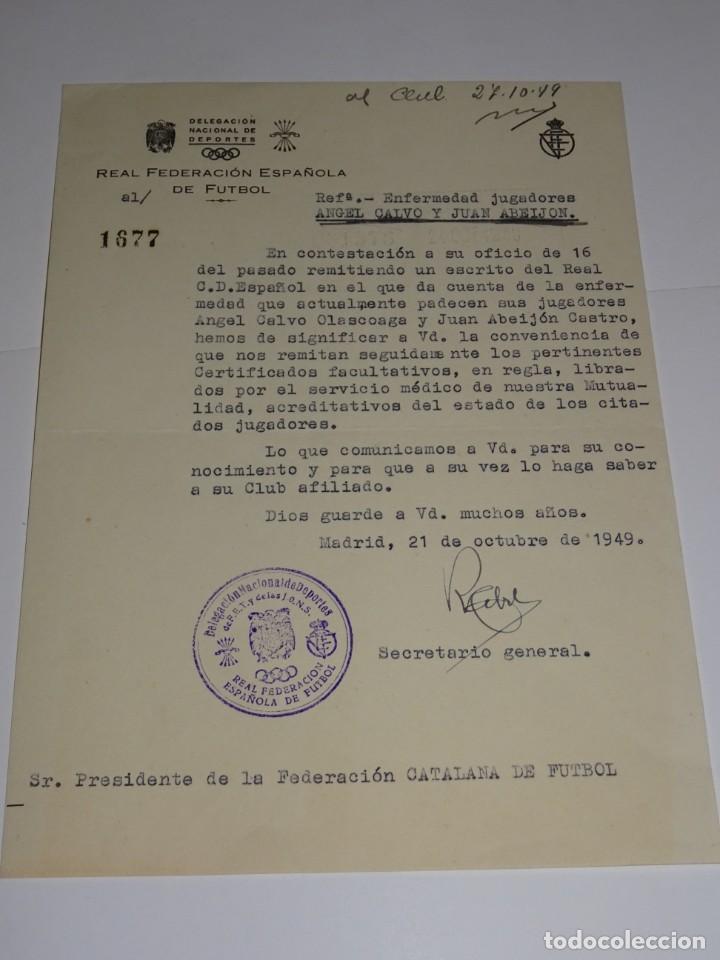 CARTA RCD ESPAÑOL NOTIFICANDO LA ENFERMEDAD DE LOS JUGADORES ANGEL CALVO Y ABEIJON (Coleccionismo Deportivo - Documentos de Deportes - Otros)