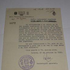 Coleccionismo deportivo: CARTA RCD ESPAÑOL NOTIFICANDO LA ENFERMEDAD DE LOS JUGADORES ANGEL CALVO Y ABEIJON. Lote 271133633