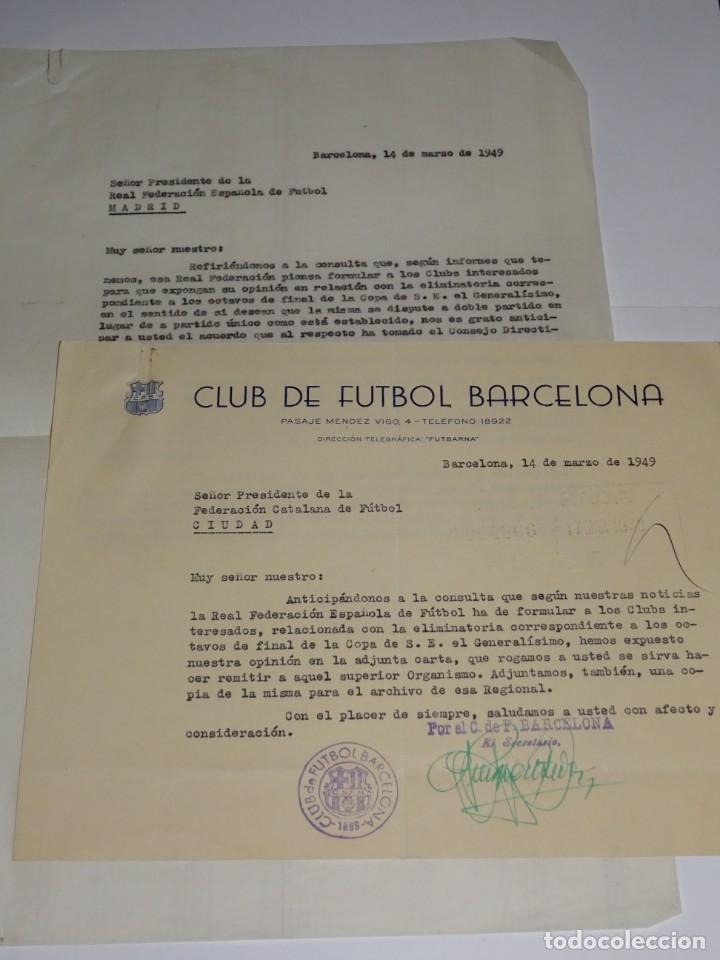 CARTA FC BARCELONA ELIMINATORIA S-E- EL GENERALISIMO 1949, NOTIFICACION QUE SERA A DOBLE PARTIDO (Coleccionismo Deportivo - Documentos de Deportes - Otros)