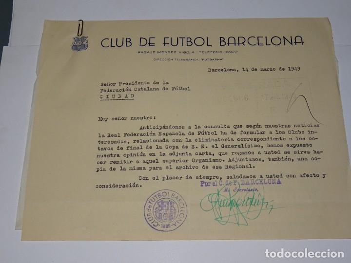 Coleccionismo deportivo: CARTA FC BARCELONA ELIMINATORIA S-E- EL GENERALISIMO 1949, NOTIFICACION QUE SERA A DOBLE PARTIDO - Foto 2 - 271134653