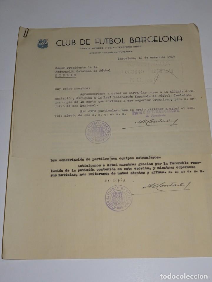 CARTA FC BARCELONA 1949 - NOTIFICACION PARTIDO FC BARCELONA - CLUB ELFSBORG SUECIA, FIRMA MONTAL (Coleccionismo Deportivo - Documentos de Deportes - Otros)