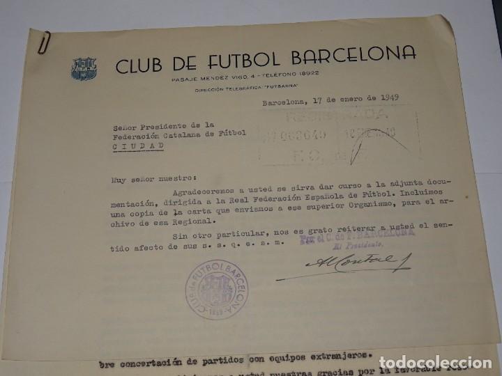 Coleccionismo deportivo: CARTA FC BARCELONA 1949 - NOTIFICACION PARTIDO FC BARCELONA - CLUB ELFSBORG SUECIA, FIRMA MONTAL - Foto 2 - 271136063