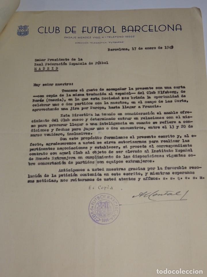 Coleccionismo deportivo: CARTA FC BARCELONA 1949 - NOTIFICACION PARTIDO FC BARCELONA - CLUB ELFSBORG SUECIA, FIRMA MONTAL - Foto 3 - 271136063