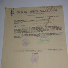 Coleccionismo deportivo: CARTAS FC BARCELONA - VALENCIA FC COPA EVA DUARTE DE PERON, AUTORIZACION PARA RETRASMITIRLO 1948. Lote 271136813