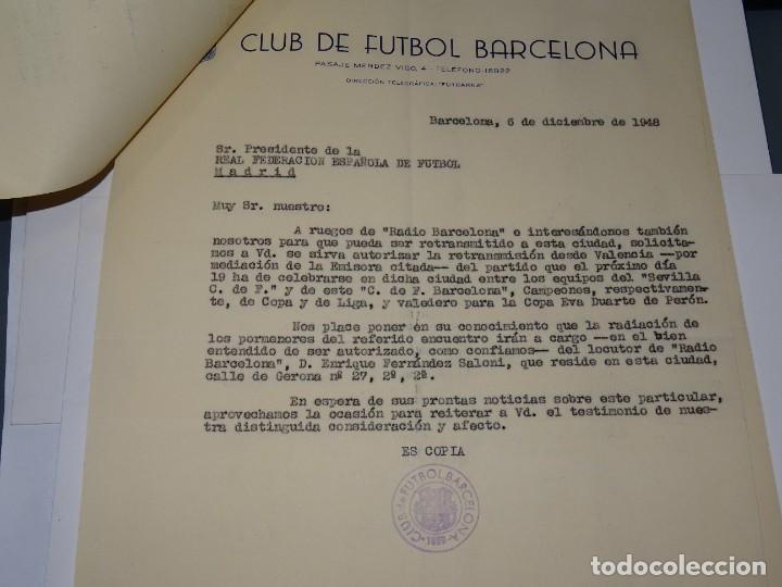 Coleccionismo deportivo: CARTAS FC BARCELONA - VALENCIA FC COPA EVA DUARTE DE PERON, AUTORIZACION PARA RETRASMITIRLO 1948 - Foto 3 - 271136813