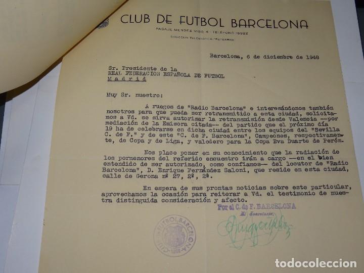 Coleccionismo deportivo: CARTAS FC BARCELONA - VALENCIA FC COPA EVA DUARTE DE PERON, AUTORIZACION PARA RETRASMITIRLO 1948 - Foto 4 - 271136813