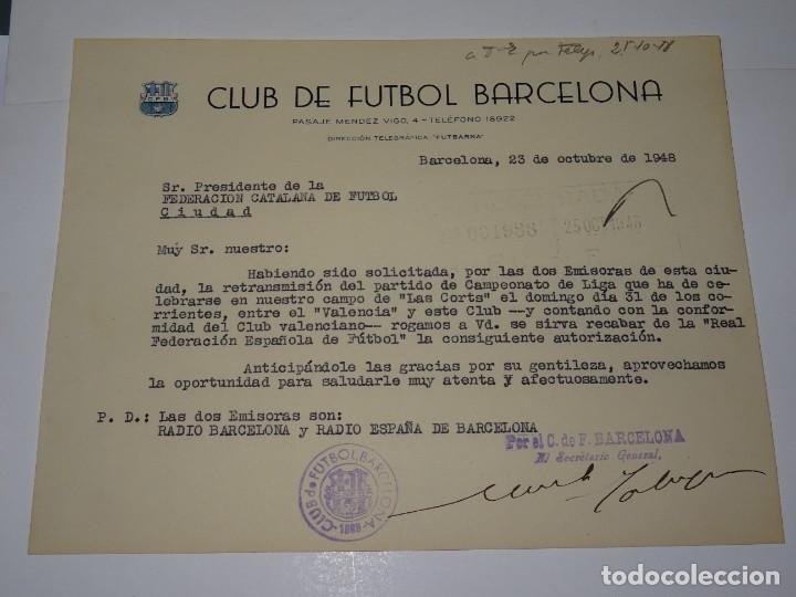 CARTA FC BARCELONA - SOLICITANDO LA RETRANSMISION DEL PARTIDO FC BARCELONA - VALENCIA FC 1948 (Coleccionismo Deportivo - Documentos de Deportes - Otros)