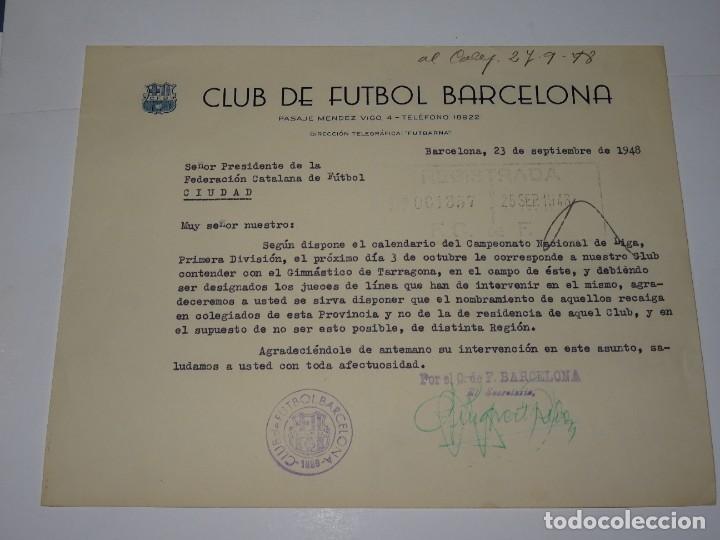 CARTA FC BARCELONA - GIMNASTICO DE TARRAGONA AÑO 1948 DESIGNACION JUECES DE LINEA (Coleccionismo Deportivo - Documentos de Deportes - Otros)