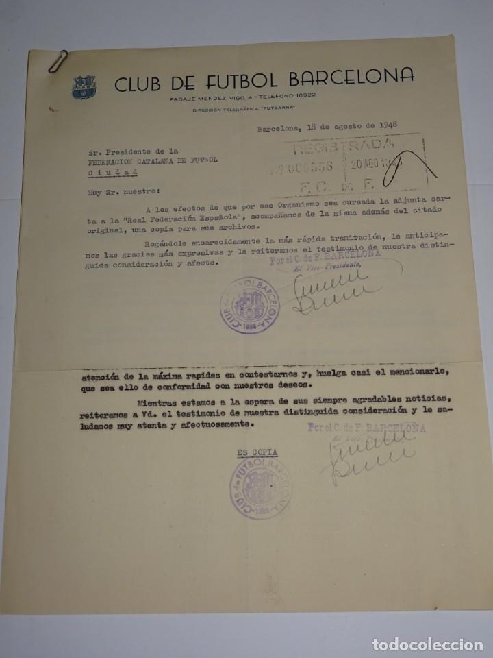 CARTAS FC BARCELONA INAUGURACION TEMPORADA CONTRA SPORTIN DE PORTUGAL, ATLETICO, AÑO 1948 (Coleccionismo Deportivo - Documentos de Deportes - Otros)