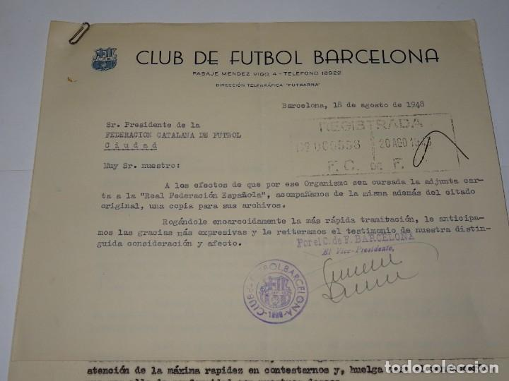 Coleccionismo deportivo: CARTAS FC BARCELONA INAUGURACION TEMPORADA CONTRA SPORTIN DE PORTUGAL, ATLETICO, AÑO 1948 - Foto 2 - 271139943