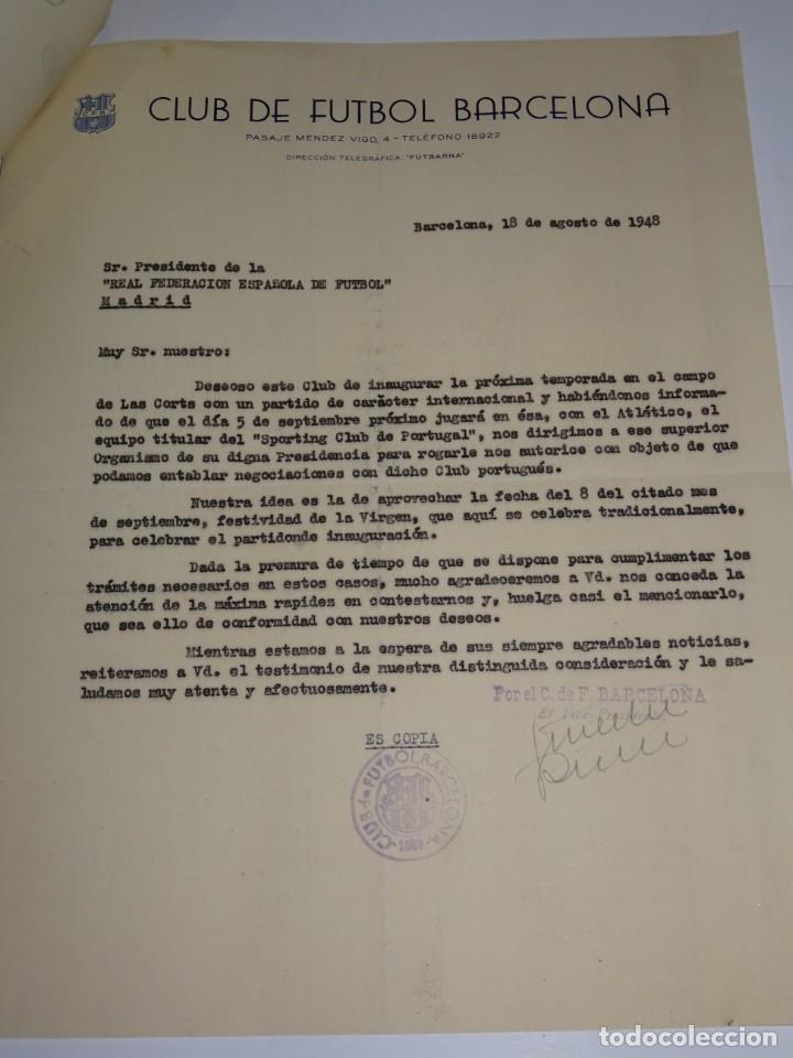 Coleccionismo deportivo: CARTAS FC BARCELONA INAUGURACION TEMPORADA CONTRA SPORTIN DE PORTUGAL, ATLETICO, AÑO 1948 - Foto 3 - 271139943