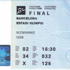 Coleccionismo deportivo: ENTRADA DE LA FINAL DE ATLETISMO - OLIMPIADAS DE BARCELONA'92 EN EL ESTADI OLIMPIC (COBI). Lote 275064003