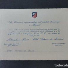 Collectionnisme sportif: ATLETICO DE MADRID FUTBOL INVITACION 1959 VINO EN HOMENAJE AL JUGADOR MIGUEL. Lote 275189748