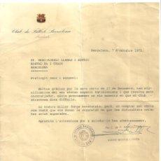 Coleccionismo deportivo: 4263.-CLUB DE FUTBOL BARCELONA-FIRMA AGUSTI MONTAL-CARTA AGRAÏMENT AL RESTAURANT PA I TRAGO. Lote 278688128