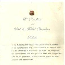 Coleccionismo deportivo: 4263.-CLUB DE FUTBOL BARCELONA-CARTA AGRAÏMENT A MARC AURELI LLENAS DEL RESTAURANT PA I TRAGO. Lote 278688698