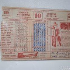 Coleccionismo deportivo: QUINIELA DE FÚTBOL JORNADA 10 AÑO 1963. Lote 287040918
