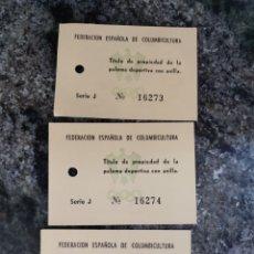 Coleccionismo deportivo: COLOMBICULTURA TÍTULO D PROPIEDAD FEC.. Lote 288917798