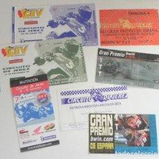 Coleccionismo deportivo: GRAN LOTE ENTRADAS AL CIRCUITO JEREZ MOTOS GRAN PREMIO DE ESPAÑA DEPORTE 1991 2007 INVITACIÓN CEV Y+. Lote 292590833