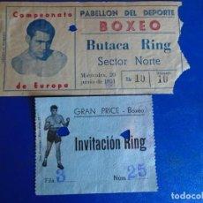 Coleccionismo deportivo: (FE-32)LOTE 2 ENTRADAS BOXEO LUIS ROMERO-PEETER KEENAN CAMPEONATO DE EUROPA 20 JUNIO 1951. Lote 295430988