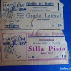 Coleccionismo deportivo: (F-37)LOTE DE 2 ENTRADAS BALONCESTO HARLEM GLOBERTROTES 1951-1952. Lote 295480523