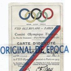 Coleccionismo deportivo: (F-211013)CARNET DE IDENTIDAD OLIMPIADAS DE PARIS 1924. Lote 295633038