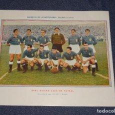 Coleccionismo deportivo: REAL OVIEDO CLUB DE FUTBOL - 1945 - 46 - OBSEQUIODE AVENTURERO, 32X22CM, RECORTADO. Lote 297057568
