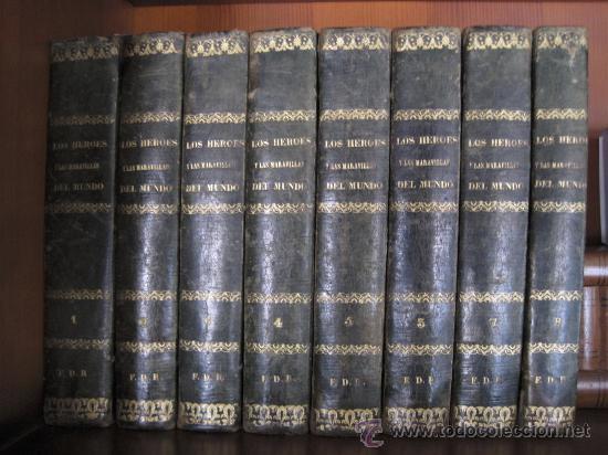 Enciclopedias antiguas: Los Héroes y las Maravillas del Mundo. 1855. 8 tomos - Foto 3 - 27566880