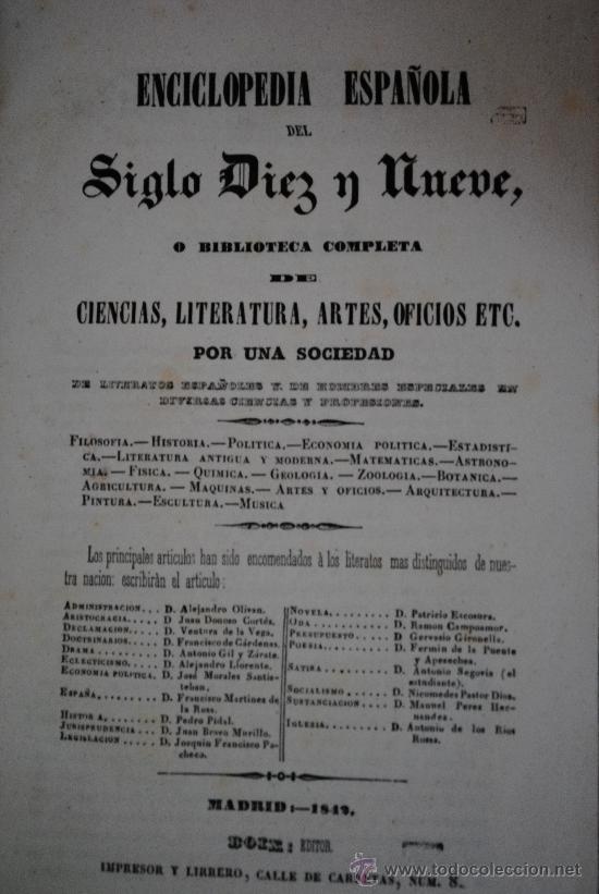 Enciclopedias antiguas: 1842.- BIBLIOFILIA. Enciclopedia española del siglo diez y nueve, o biblioteca completa de ciencias, - Foto 2 - 28633717