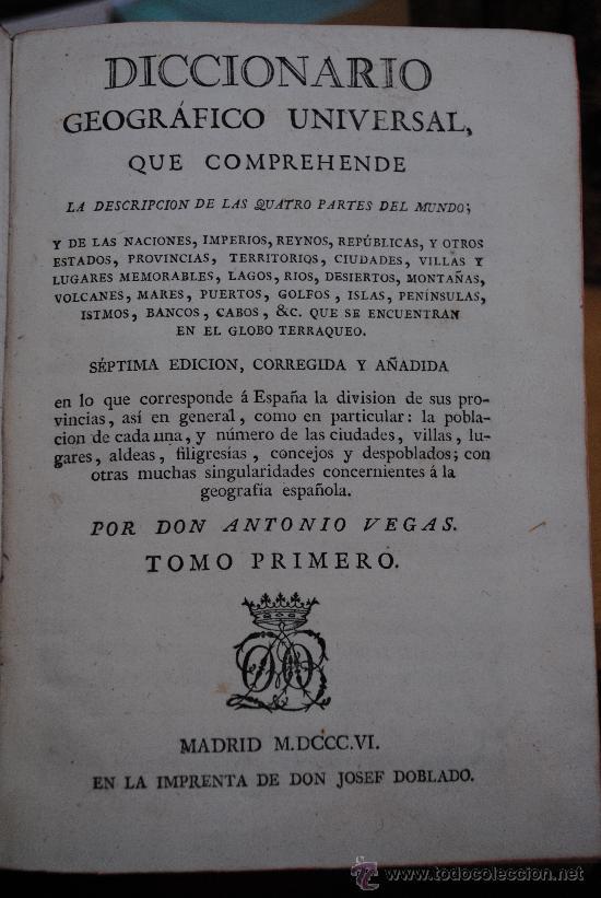 Enciclopedias antiguas: 1806.- DICCIONARIO GEOGRAFICO UNIVERSAL DE ANTONIO VEGAS. PRECIOSA ENCUADERNACIÓN. - Foto 2 - 28633818