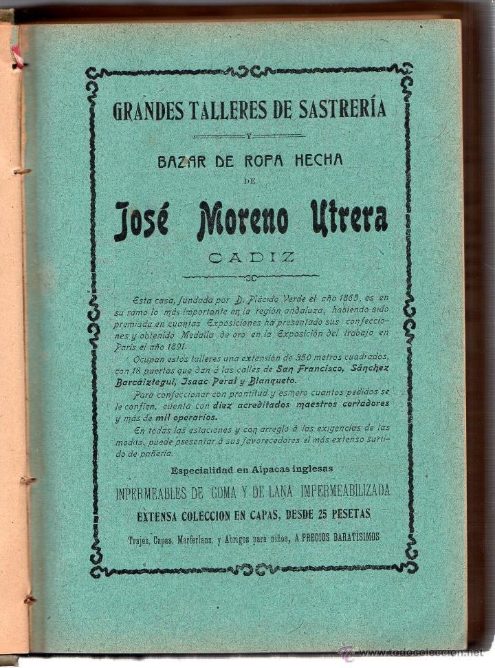 Enciclopedias antiguas: GUÍA OFICIAL COMERCIAL DESCRIPTIVA DE CÁDIZ Y SU PROVINCIA. D. ARANGO Y AYALA. CÁDIZ. 1906. - Foto 3 - 42448992