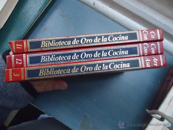 BIBLIOTECA DE ORO DE LA COCINA 3 EJEMPLARES NUMEROS 3 , 11 Y 12 BUEN ESTADO TAPAS EN ORO (Libros Antiguos, Raros y Curiosos - Enciclopedias)