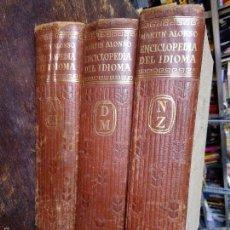Enciclopedias antiguas: ENCICLOPEDIA DEL IDIOMA - MARTÍN ALONSO - AGUILAR, 3 TOMOS, OBRA COMPLETA) TAPAS DURAS, PIEL, DORADO. Lote 58656346