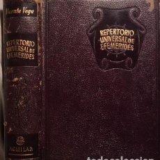Enciclopedias antiguas: VEGA: ENSAYO DE UN REPERTORIO UNIVERSAL DE EFEMÉRIDES. (AGUILAR, 1152 PÁGS.) PLENA PIEL. Lote 66940682