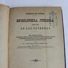 Enciclopedias antiguas: L- 4262. ENCICLOPEDIA JURIDICA PARA USO DE LAS CATEDRAS, PASQUALE DEL GUIDICE, 1885.. Lote 67591365