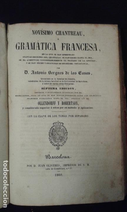 Enciclopedias antiguas: Gramática francesa. Chantreau. Bergnes de las Casas. Barcelona. Olivares. 1860. - Foto 2 - 70972261